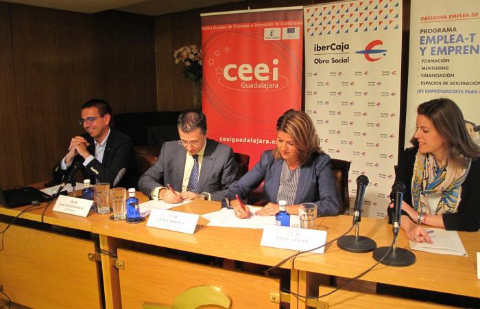 La Obra Social de Ibercaja, firma un convenio con la Fundación CEEI Guadalajara para el desarrollo del programa Emplea-T y Emprende  ¨